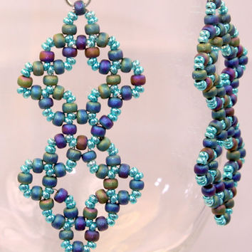 Bead woven dangle earrings, Right angle weave blue and purple diamonds, OOAK / handmade
