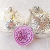 Mid Century Silverplated Birds Salt and Pepper Shakers