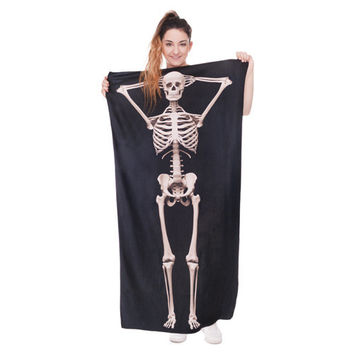 3D Skull Beach towel Drying Travel Sports Swiming Bath body Towel Yoga Mat Drape Black Skull Nightmare Before Christmas towels