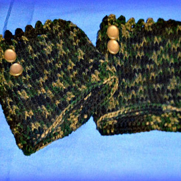 Camouflage Boot Cuff, Womens Camo Gear,  Camo Leg Warmer,  Ladies Hunting Gear, Crochet Boot Cuffs,