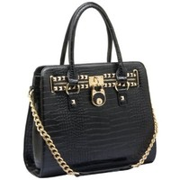 HALEY Classic Gold Studded Structured Satchel Purse Style Tote Handbag