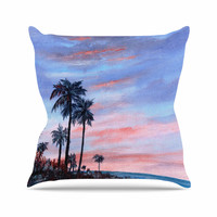"Rosie Brown ""Florida Sunset"" Pink Blue Outdoor Throw Pillow"