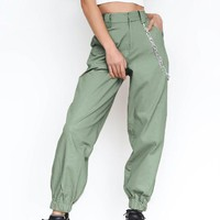 Army Green Chains Pockets Drawstring Zipper High Waisted Going Out Casual Long Pants
