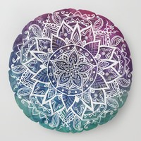 Free Spirit Floral Mandala Floor Pillow by inspiredimages