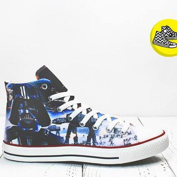 Darth Vader Star Wars custom made converse shoes Empire sneakers