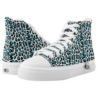 Turquoise Teal Blue Leopard Animal Print Printed Shoes