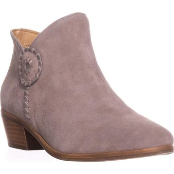 Jack Rogers Peyton Side Zip Ankle Booties, Light Grey, 6 US