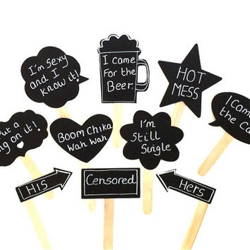 Wedding Chalkboard Photo Booth Props Cute Speech Bubble Props Chalk board Photobooth Props Set of 10 Wedding Photo Props Decoration