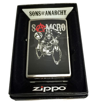 Zippo Custom Lighter - Samcro Sons of Anarchy with Pointing Reaper - Regular Brushed Chrome 200CI017494