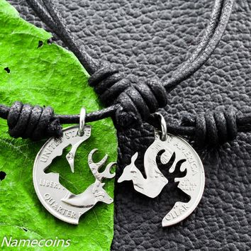 Buck and Doe on Black Cord Necklaces, Interlocking Love Quarter,Couples Puzzle by NameCoins