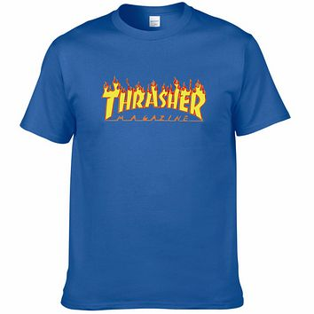 THRASHER classic flame logo summer couple models cotton personality T-shirt F0227-1 Blue
