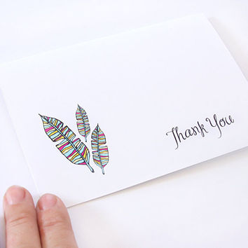 Thank You Card. Feathers. Turquoise, Pink, Lime, Fuchsia, Colorful. Blank Thank You Card.