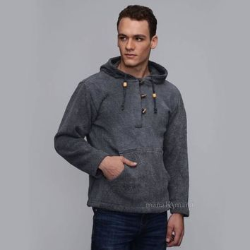 Men's Cotton knitted hoodie - baja hoodie hippie pullover - mens festival clothing -  mens cotton sweater