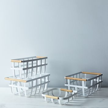 Steel & Wood Storage Basket