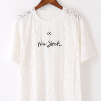 White New York Mesh Cut Out T-Shirt