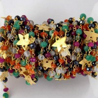 Mix Stone With Star Charms Faceted 3.5-4mm 24k Gold Plated Rosary Beaded Chain, Gold Wire Rosary Chain, Beaded Chain