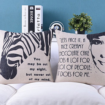 pillow cover, audrey hepburn pillow cover, decorative throw pillow cover, pillow case,zebra pillow case, decorative pillow case, pillow case