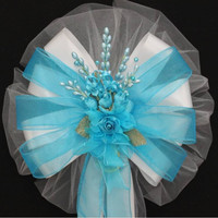 Turquoise Floral White Wedding Bows