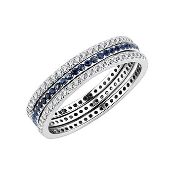 London Blues - Women's Stainless Steel Clear CZ And London Blue CZ Three Eternity Ring Set