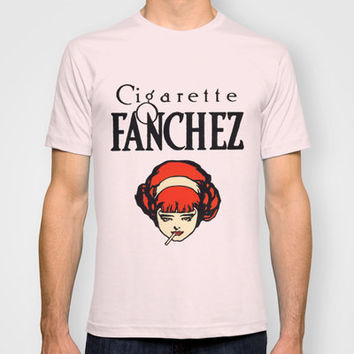 Vintage Smoking Girl French Cigarette Ad T-shirt by Iconographique