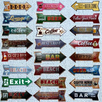 Restaurant Beach  eer Bar Coffee Arrow Metal In Signs  Wall Pub Home Art Decor 17x4 inches