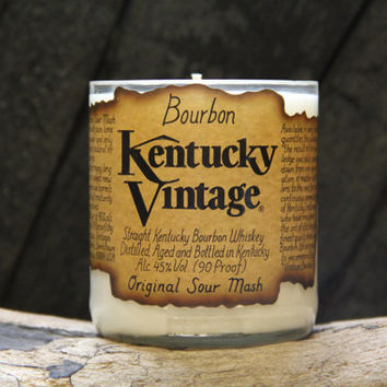 Upcycled Bourbon Candle - Recycled Kentucky Vintage Whiskey Bottle 22 oz. Soy Candle Upcycled Hand-made