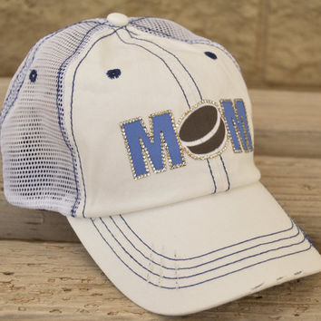 Hockey Mom Mesh Trucker Cap customized with colors that match team or school