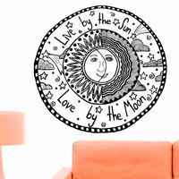Vinyl Wall Sticker Decals Ethnical Symbol Live by the sun Love by the moon Quote Bedroom Home Interior Decor Art Mural Z718