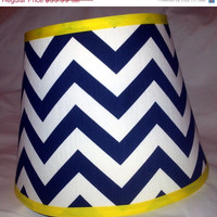 "Chevron On Sale Chevron Lamp Shade 8"" x 12"" x 9.5"" in your choice of fabric and trim colors - Lampshade"