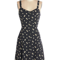 ModCloth Vintage Inspired Mid-length Sleeveless A-line Nights and Daisies Dress in Dots