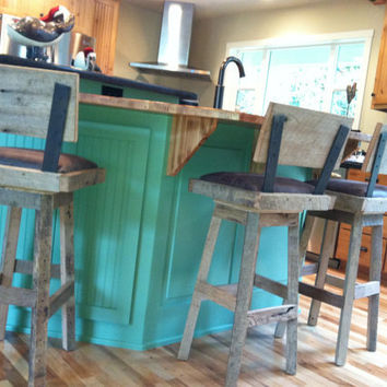 "YOUR Custom Reclaimed Rustic and Upholstered Swivel Oak Barn Wood Rectangle 29""-32"" Top Bar Stool with Backs"