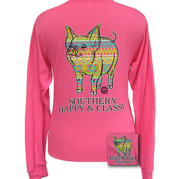 Girlie Girl Originals Southern Aztec Happy & Preppy Pig Long Sleeve T Shirt