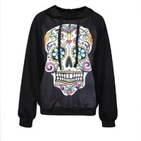 Erlking Women's Punk Rock Printing Funny Skull Hooded Sweatshirts