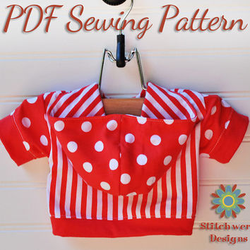 Dog Clothes PDF Sewing Pattern - Small Dog T Shirt, Hoodie S204 - 5 Sizes Included, Pullover Style With or Without Hoodie Options