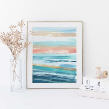 Modern Seascape Blue, Turquoise and Salmon Pink Painting Wall Art Print