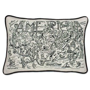 America Black and White Embroidered Pillow