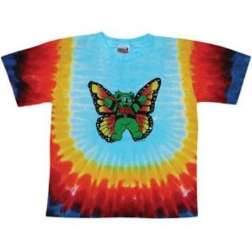 Grateful Dead Men's  Butterfly Bear Tie Dye T-shirt Multi