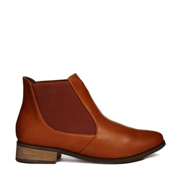 London Rebel Tan Flat Chelsea Boot