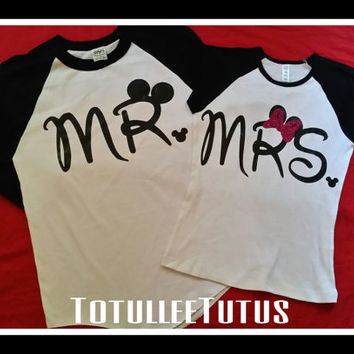 5ed681b8a2 Disney Inspired Couples Baseball TShirts Mr and Mrs with Mouse Ears