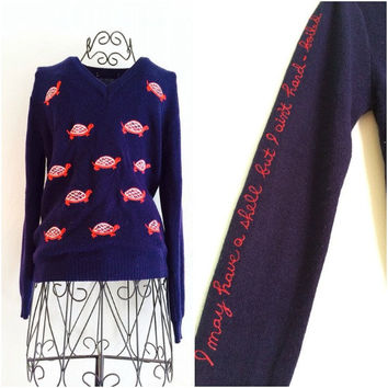 70s Navy & Red Turtle V Neck Sweater Sz S