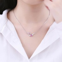 Sterling silver necklace pendant clavicle chain crystal plum chain