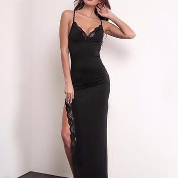 Lace Trim Side Slit Long Dress