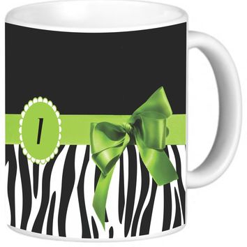 "Rikki Knight Green Zebra Bow Monogram Design Photo Quality Ceramic Coffee Mug, 11-Ounce, Letter ""I"""