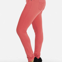 Cheap Trendy Coral Stretchy Skinny Pants in Pants
