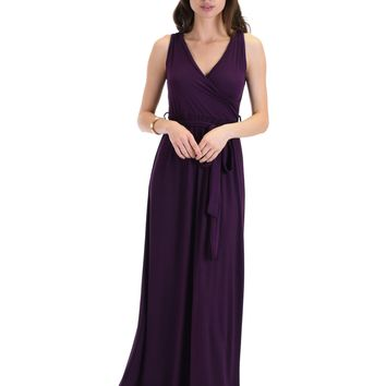 Lyss Loo All Mine Sleeveless Crossover Purple Wrap Maxi Dress