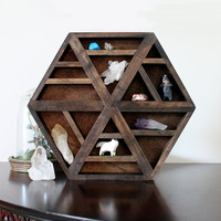 EMPTY handmade hexagon wood wall shelf for crystals, stones or other small collections
