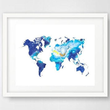 Map of the world, blue agate print, world map art, blue lace agate, world map poster, printable digital download, agate art, bathroom art