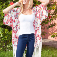 White Mark Fringe Kimono Cardi-White Flower-Red Leaves