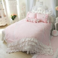 DIAIDI,Flax Linen Bedding Set,Pink Blue Bedding Sets,Princess Lace Ruffle Duvet Covers,Twin Queen King Size,4Pcs (QUEEN, PINK)