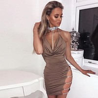 Fashion Solid Color Diamond Halter Sleeveless Backless Hollow Deep V Mini Dress